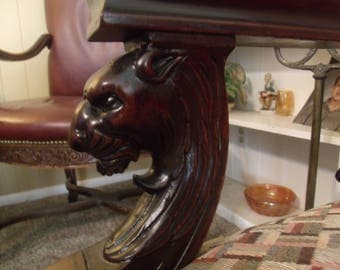 Best of Antique Figural Carved Marquetry Inlay Empire Gothic Lion Arm Chair (LAYAWAY AVAILABLE)
