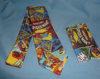 Comic Book Suit and Tie accessories set, Comic book long tie and pocket square set, Marvel comic book accessories