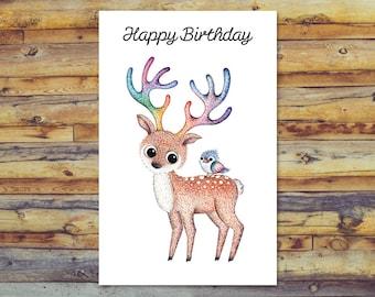 Deer Birthday Card, Printable Birthday Card, Digital Download Card, Blank Greeting Card, Instant Download, Cute Deer and Bird Art, Deer Art