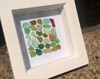 geniune sea glass mosaic framed art