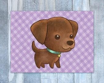 Little Chocolate Labrador Retriever Card