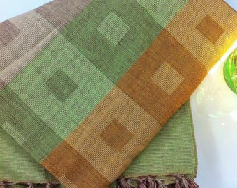 Khadi Cotton Picnic Blankets - Handloom Woven Bedspreads, Cotton Bedspreads, Geometric Cotton Bedsheets, indian Cotton Bedcover