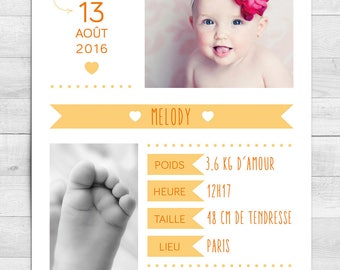 Mixed pastel birth announcement