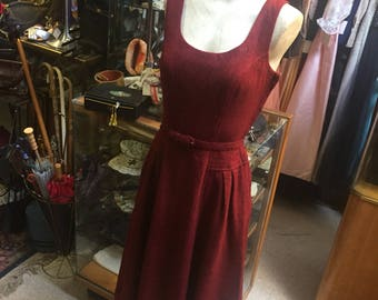 Pretty burgundy wool tweed dress of the 1950s...with belt!