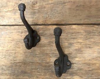 Rustic Cast Iron Hooks, Pair of Cast Iron Hooks