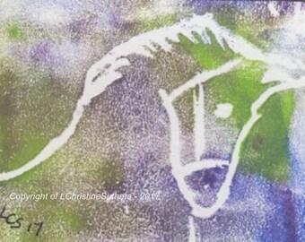 A Colourful Horse – Acrylic – ACEO Original