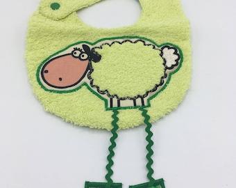 Lamb bib long green legs
