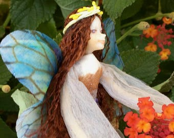 "Fae Folk® Fairies - SATURN - Highland Fairy. Bendable, posable 5"" soft doll can sit, stand, or hang."