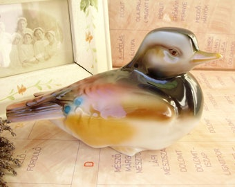 Large,Vintage Hungarian Hollohaza porcelain bird figurine,mallard,duck, stamped,handpainted
