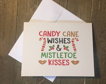 Christmas card - Happy Holidays Cards - Candy Cane Wishes - card for family - card fir nieghbour