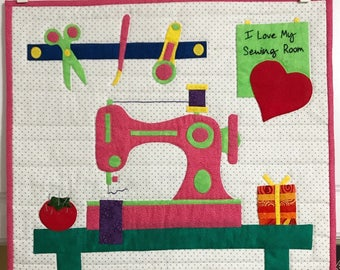 Peaches Quilt Creations I Love My Sewing Room Applique Quilt Wall Hanging Pattern