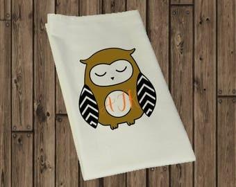 Monogram Flour Sack Towel- owl monogram towel- owl lover-pumpkin monogram tea towel- fall inspired flour sack towel-fall kitchen decor