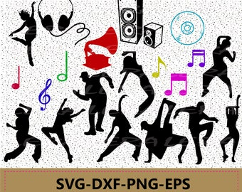 60 % OFF, Music Svg, Dance SVG Files, Dancing Silhouette svg, dxf, ai, eps, png, Notes Vector Files