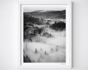 Printable Watercolor Forest Art | Foggy Forest | Fog Landscape Art Printable Forest Art | Printable Landscape | Forest Print| Mountain Print