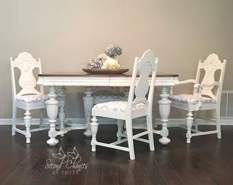 SOLD- Dining Room Table - 4 Chairs - Solid Wood - Jacobean Style white distressed. But can do custom