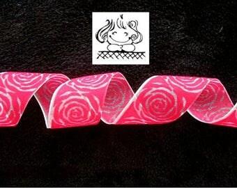 2.35 M Ribbon velvet pink 38 mm N.1733