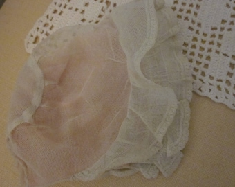 Very Vintage Pink Net Baby Bonnet/ Era 1930