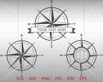 Compass SVG, Compass Monogram Frame with Circle Font, Compass Clipart Silhouette Cricut Cut Files (svg, dxf, eps, png, pdf)