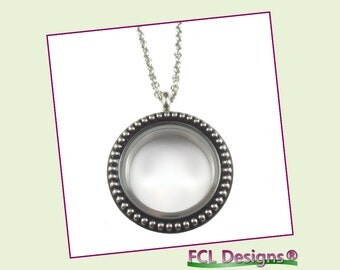 30mm Silver Vintage Round Floating Charm Locket Necklace