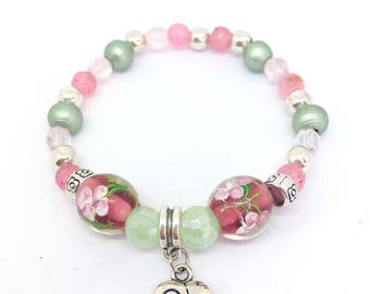Jade millefiori beaded bracelet, pink and green