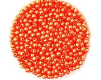 Orange 100 Acrylic Pearl round beads 4 mm