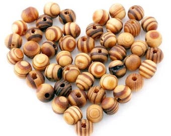 100 6 mm Brown Zebra wood beads