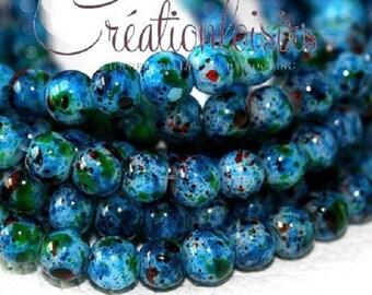 20 howlite beads 6 mm - color effect, mottled blue glass