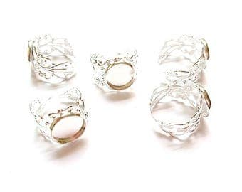 5 rings racks Cabochons 12mm adjustable silver plated 16.5 mm (size US 6) round shape