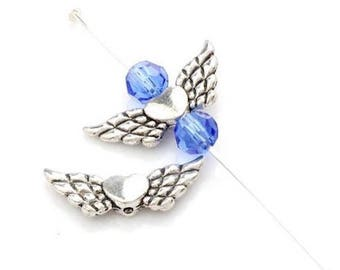 10 beads spacer metal angel wing silver 22 x 9 mm