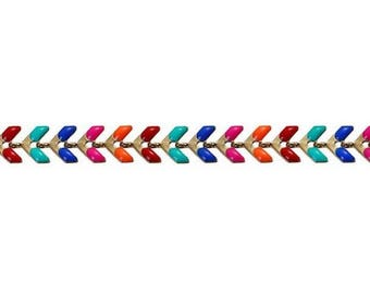 Enamel chevron ear chain, gold and color