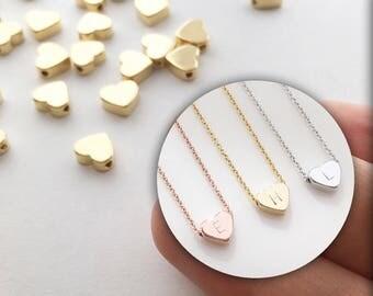 Gold Heart Charms Bulk 4 pcs - Heart initial Tiny Heart Charm heart pendant wholesale charms Wholesale Bay 4PFH-G