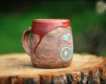 Scratched ceramic mug with Paisley, 450ml/15 fl.oz, Paisley pattern, Handmade pottery teacup, red brown cup, indian decor house warming gift