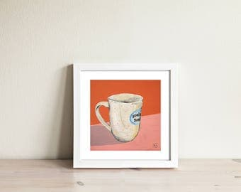 Cozy Mug on the russet-pink background. Limited edition art print