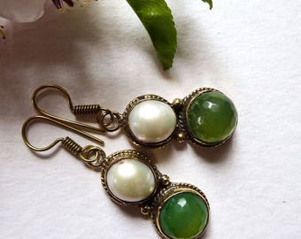 Tibetan jade and Pearl Earrings