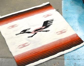 Wool rug, tapestry, native american, road runner, wall hanging, aztec