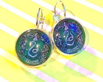 Handmade Slytherin Harry Potter glass cabochon earrings - 16mm