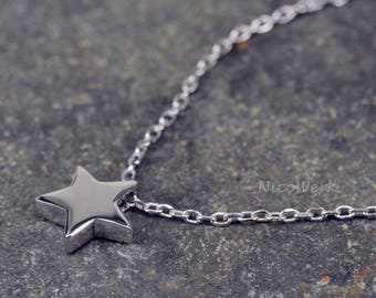 Silver necklace with pendant star necklace ladies 925 Silver Chain jewelry SKE182