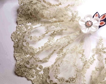 lace embroidery on light gold tulle x1m style Alencon 18.5 cm width