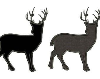 Buck Deer Filled and Applique Design 3 sizes instant download