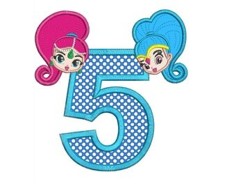 Shimmer and Shine 5th Birthday Applique Design 2 sizes instant download