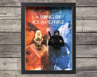 Game of Thrones Jon Snow Daenerys Targaryen Ice and Fire Lego Compatible Minifigure Valentine Wedding Anniversary Couple Gift