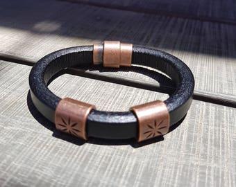 Leather bracelet; Men's bracelet; Licorice leather bracelet;  Men's leather bracelet; Women's bracelet;  Magnetic bracelet; Mens bracelet