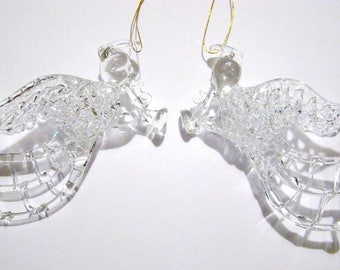"Vintage New Spun Glass 4"" Angel playing horn Christmas ornament pair"