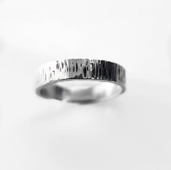 Silver Tree Ring // Tree Bark Ring // Silver Tree Band // Promise Ring // Silver Stacking Ring // Stacker Ring //Womens Ring