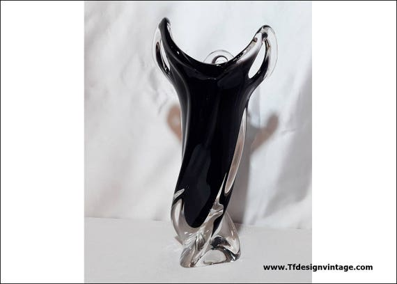 Crystal vase, Black crystal vase, Crystal vase centrepiece, Bohemia crystal vase, Crystal vase hand carved, Crystal vase for wedding gift