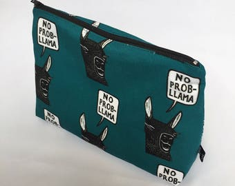 Zipper pouch | cosmetics bag | project bag |  printed design | pencil case |  rubber stamp | llama | fun quote | no probllama | petrol