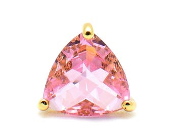 2 Triangle Pink Pendant. 22K Gold Plated over Brass Setting. 14mm