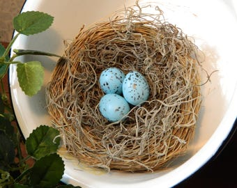 "Farmhouse Bird Nest, Extra Large 5"" Spring Bird Nest and Eggs, Spring Floral Arrangement, Rustic, Country, Woodland, Decor, Shower, Wedding"