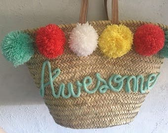 Customized Straw beach basket