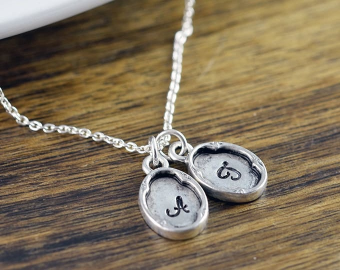 Personalized Necklace - Hand stamped Necklace  - Monogram  Necklace - Dainty Initial Necklace - Silver Necklace - Gift for Women